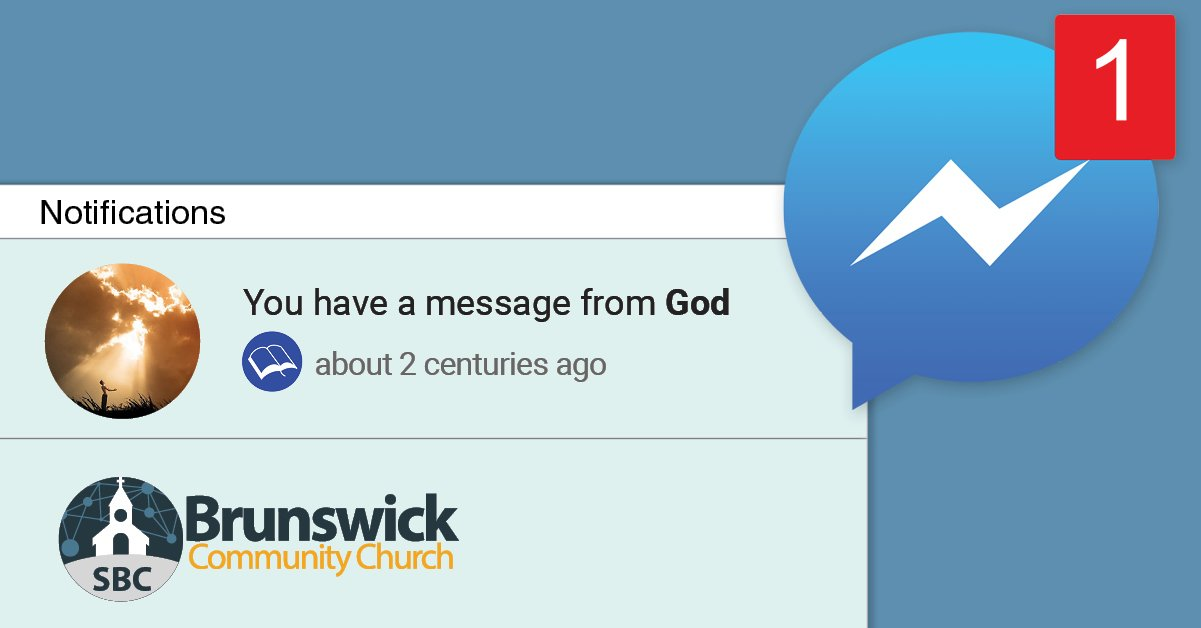 """Facebook Ad for Brunswick Community Church, showing Facebook user has 1 new message """"from God"""""""