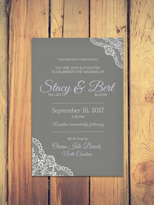 Modern Vintage Lace Wedding Invitation - Graphic Design by The Helpful Marketer, displayed on wood table