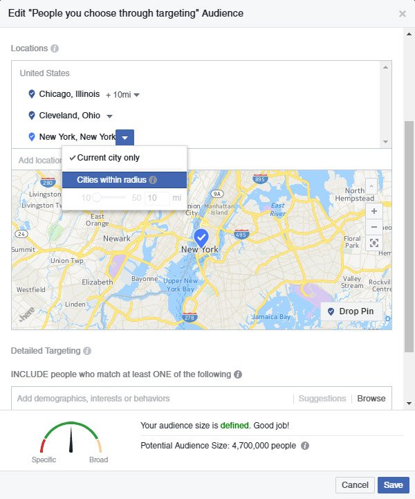Screen shot of Facebook Ads Audience Targeting by Location