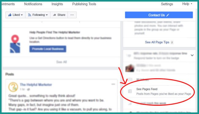screen shot of How to see your business page news feed