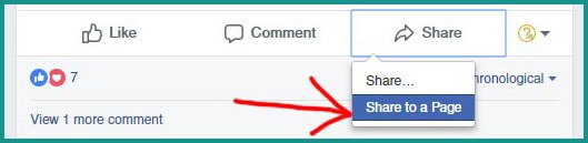 Screen shot of How To Share a Facebook Post to Business Page