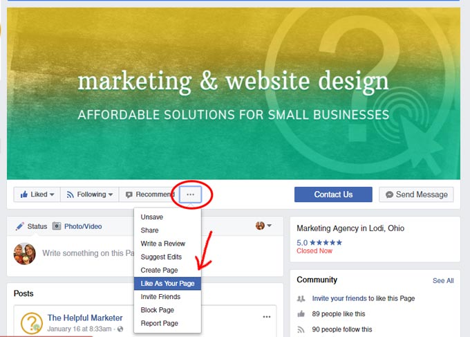 Screen shot of how to like a facebook page as your business page