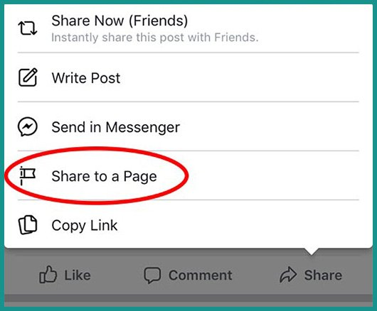 screen shot of How to Share a Facebook Post to a Page on iPhone