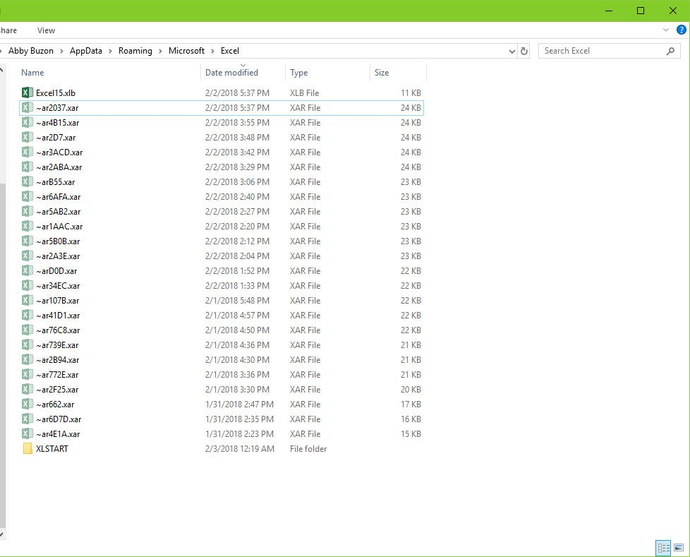 Screen shot of Excel AutoRecover files saved as XAR files
