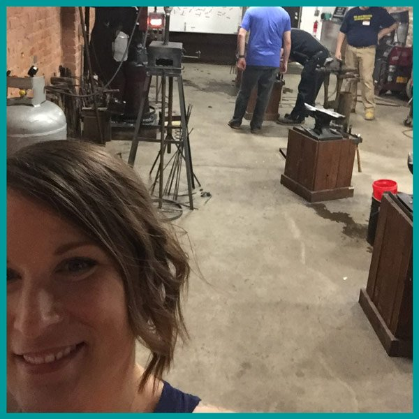 Me (Abby Lehman Buzon) at Cleveland Blacksmithing with my brother, Gavin Lehman