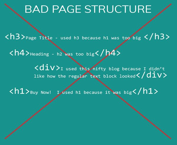 example of BAD HTML structure that could harm SEO