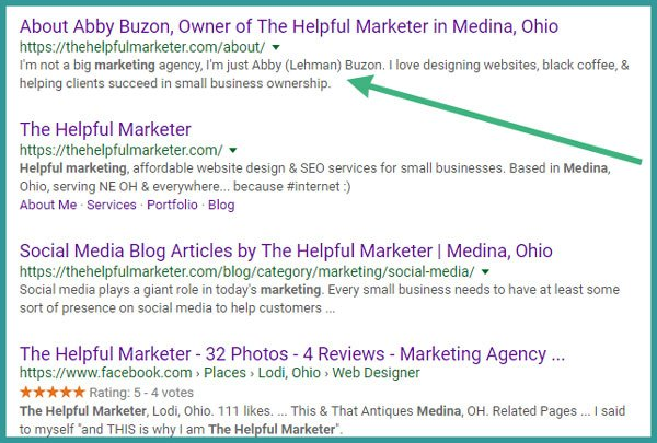 screen shot of Shortened meta descriptions on Google