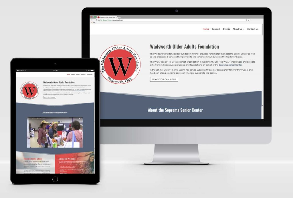 Mockup of Website design for WOAF, non-profit