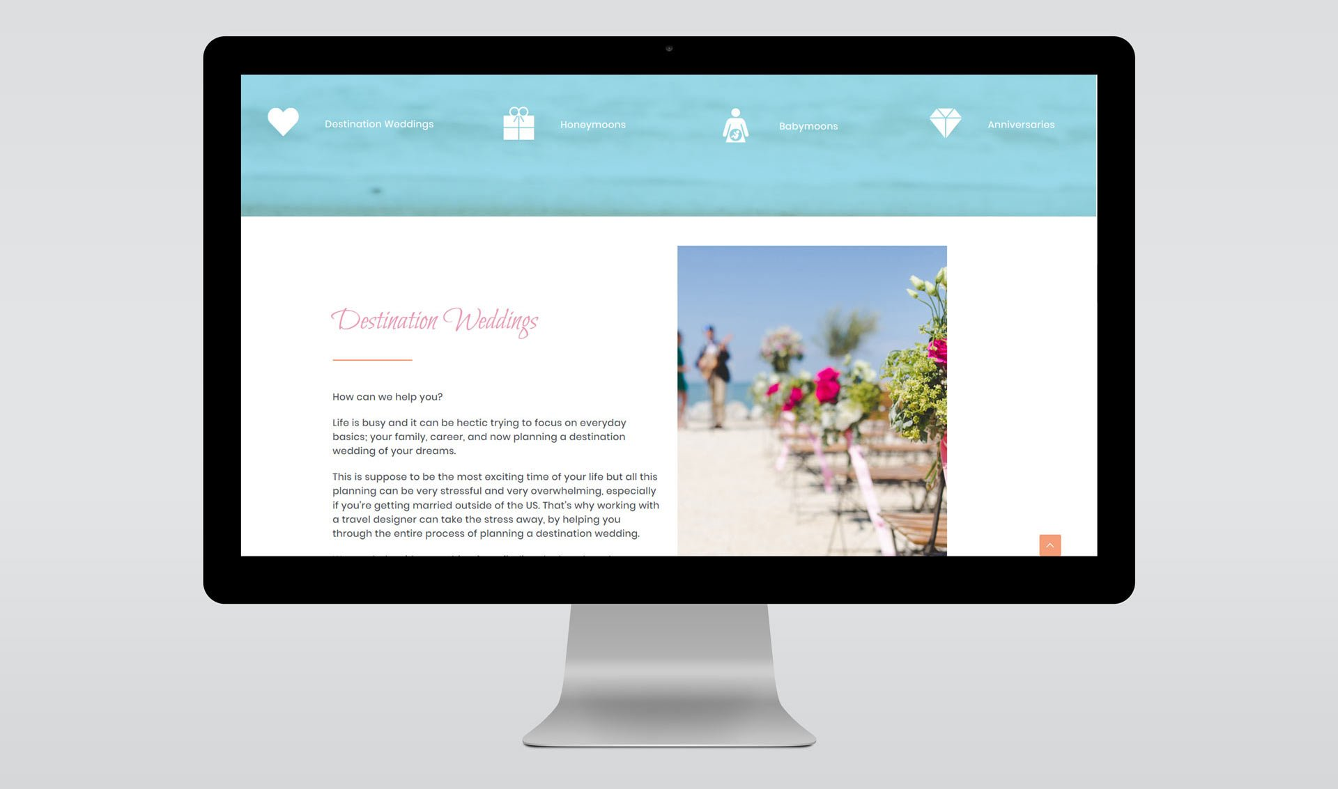 mockup of web design for travel planner