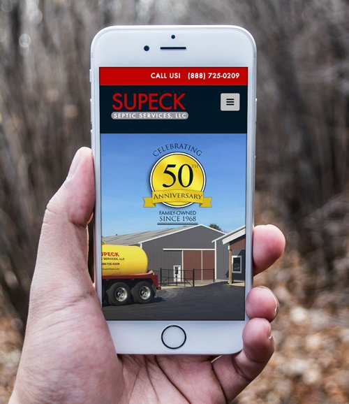 Graphic Design, Logo Design Mockups for Supeck Septic Services on iPhone