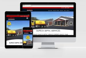 Website Design Mockups for Supeck Septic Services on Desktop and iPhone and iPad