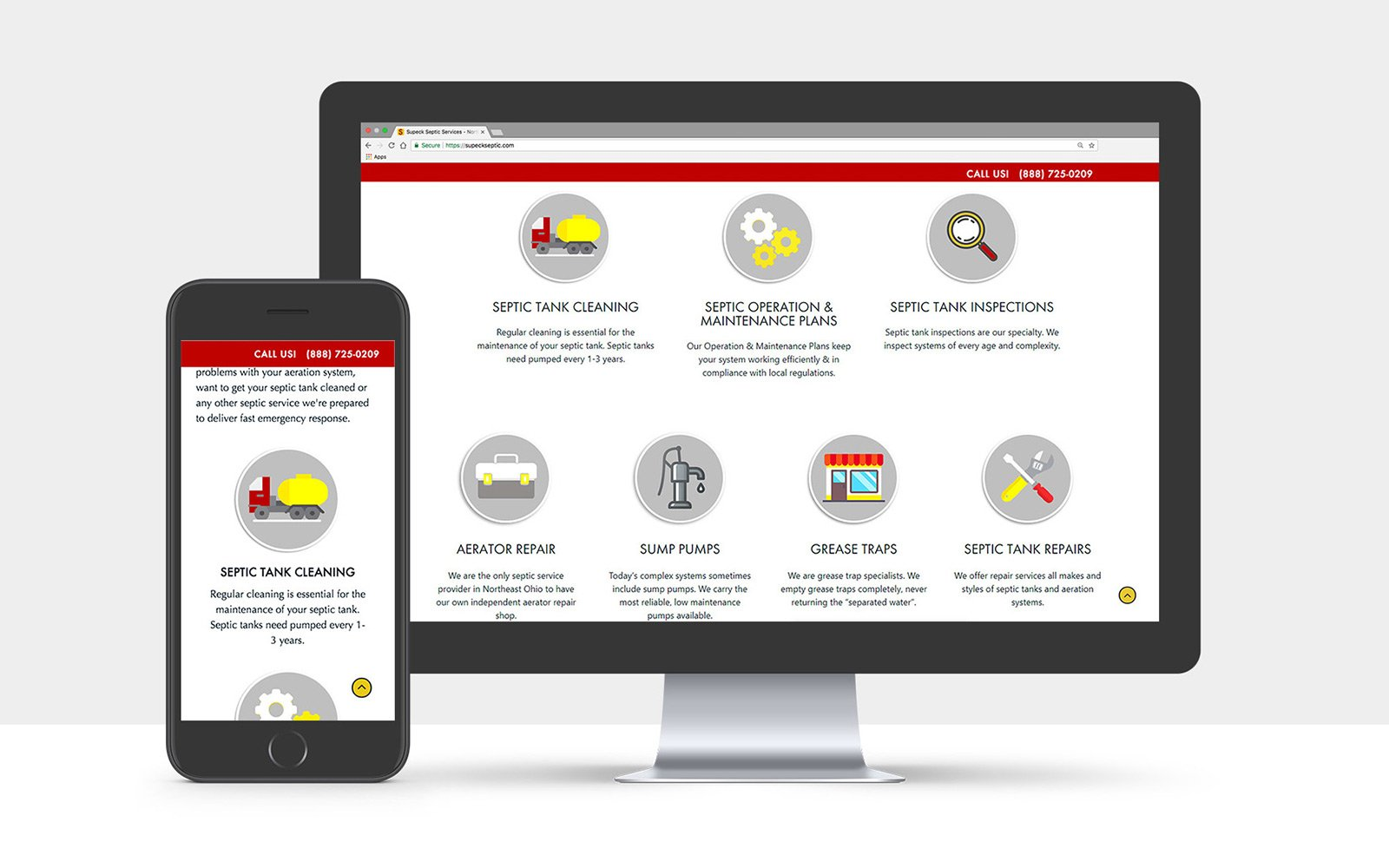 Website Design Mockups for Supeck Septic Services on Desktop and iPhone