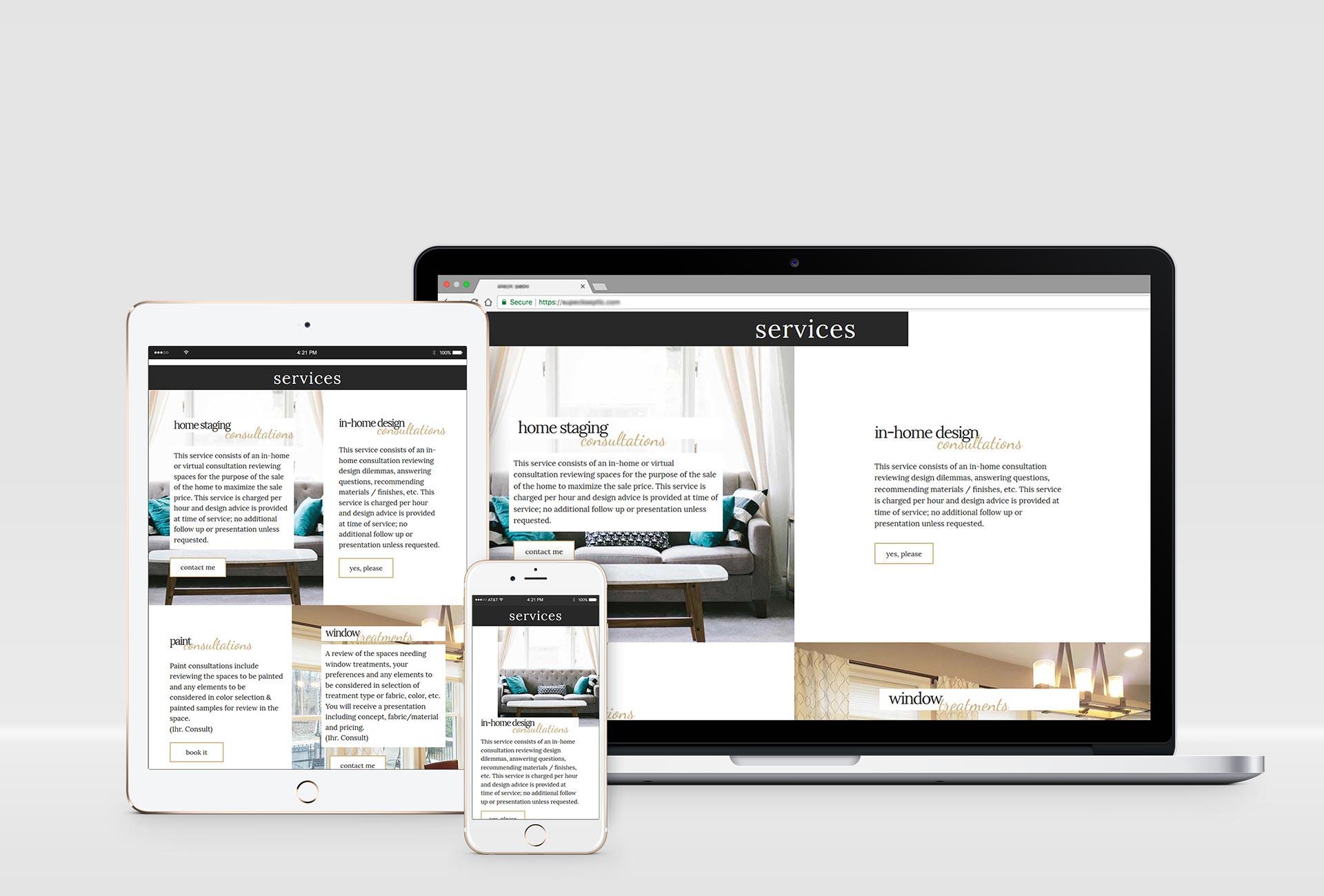 Interior Designer Website Design Project Mockups 2