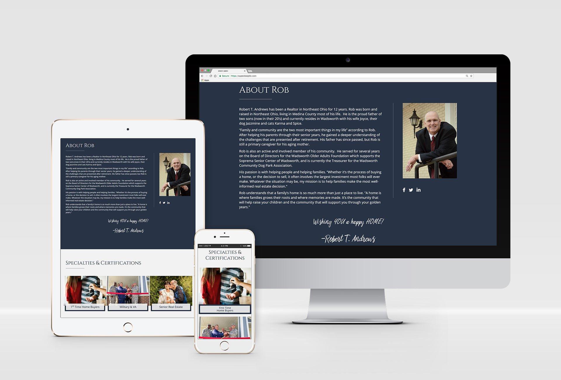 Real Estate Agent website design portfolio mockup
