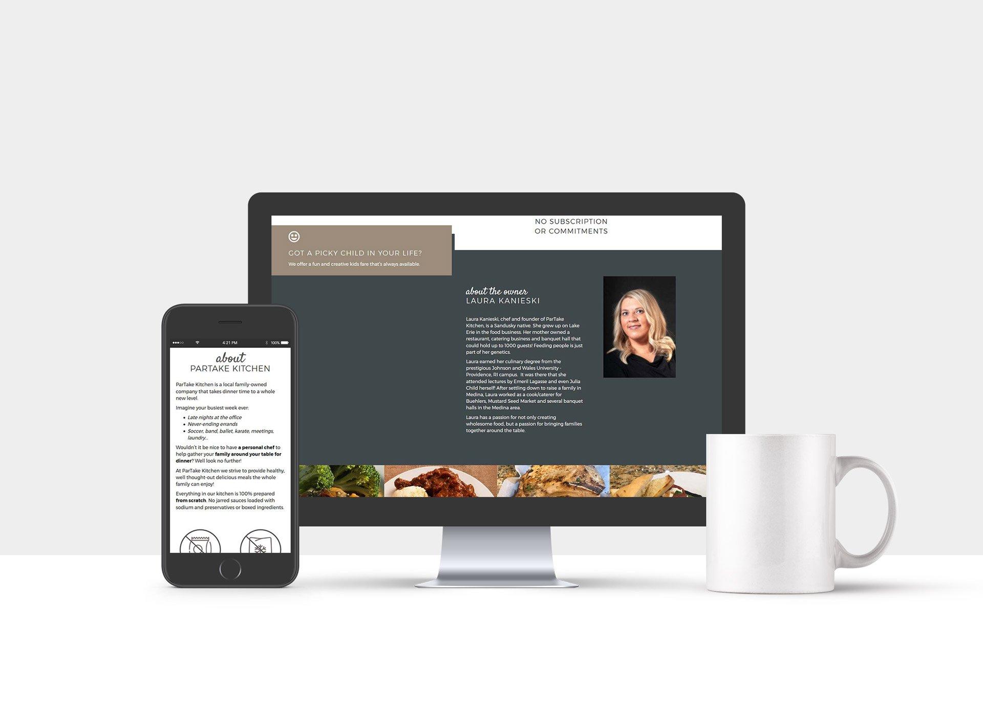 Website Design for ParTake Kitchen Meal Prep restaurant