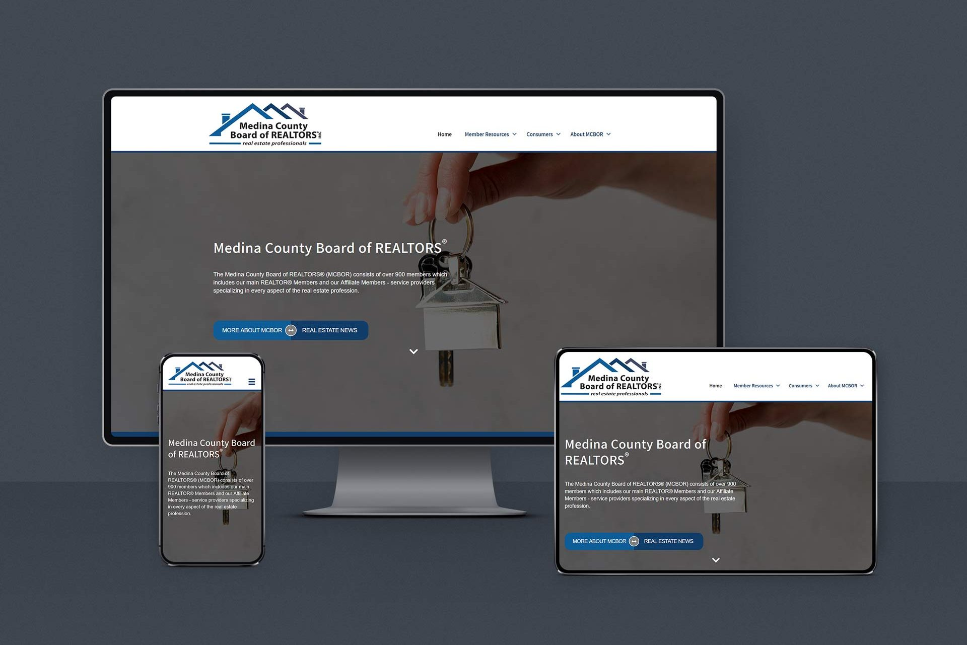 Website Redesign for Board of Realtors Homepage shown on responsive devices