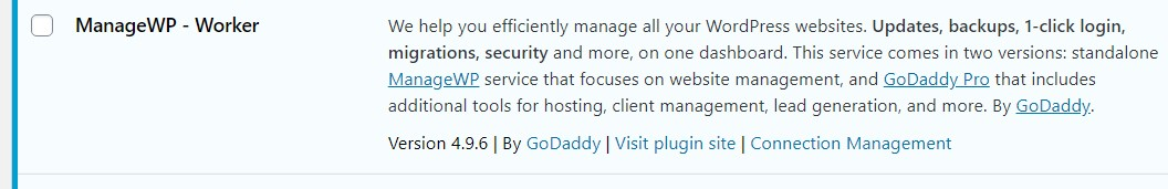 Screen shot of ManageWP Worker plugin now visible on WordPress Plugins page of a Go Daddy-hosted website