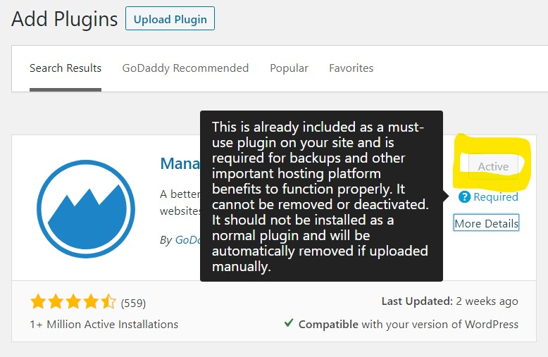 screen shot of ManageWP Worker plugin showing as already installed and Active with Go Daddy WordPress Hosting